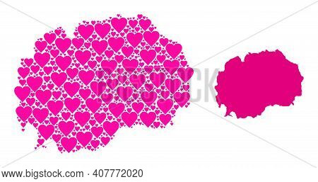 Love Pattern And Solid Map Of Macedonia. Mosaic Map Of Macedonia Is Formed With Pink Lovely Hearts.