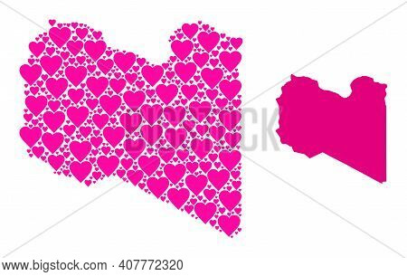 Love Collage And Solid Map Of Libya. Collage Map Of Libya Is Composed With Pink Valentine Hearts. Ve