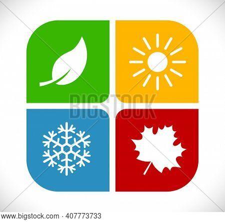 four season icon isolated on white