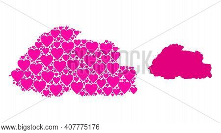 Love Mosaic And Solid Map Of Bhutan. Collage Map Of Bhutan Is Composed From Pink Lovely Hearts. Vect