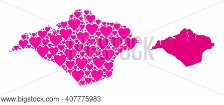 Love Mosaic And Solid Map Of Isle Of Wight. Collage Map Of Isle Of Wight Created With Pink Love Hear