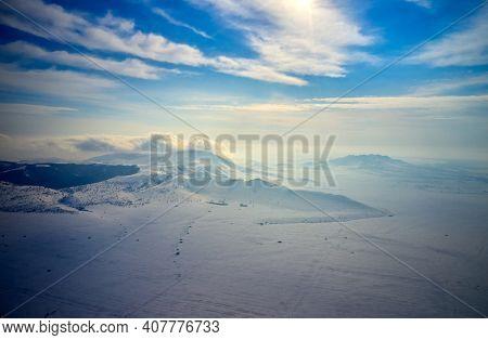 beautiful winter landscape in Dobrogea, Romania - hyper lapse