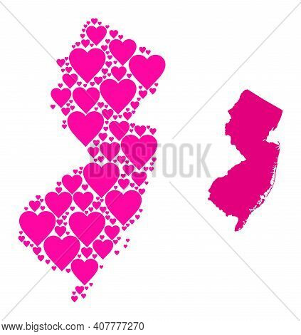 Love Collage And Solid Map Of New Jersey State. Collage Map Of New Jersey State Is Created With Pink