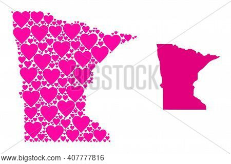 Love Collage And Solid Map Of Minnesota State. Collage Map Of Minnesota State Created From Pink Vale