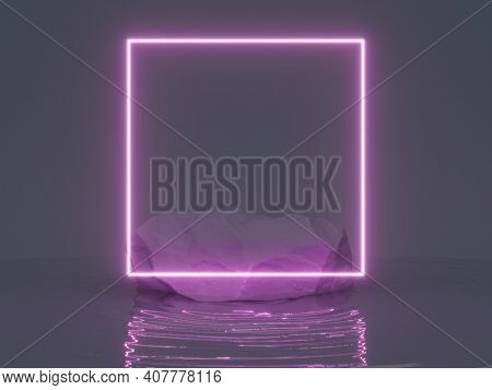 Neon glowing frame, stone block as product stand on water ripple, 3D illustration, rendering.