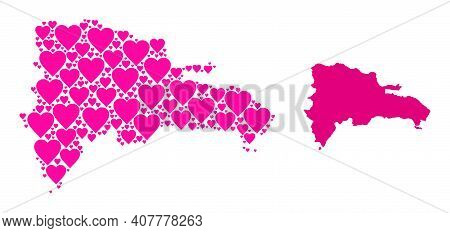Love Mosaic And Solid Map Of Dominican Republic. Mosaic Map Of Dominican Republic Created With Pink