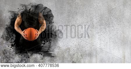 Basketball player on wall background. Sports banner. Horizontal copy space background