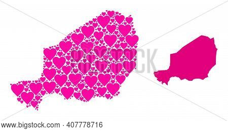 Love Collage And Solid Map Of Niger. Collage Map Of Niger Is Composed With Pink Hearts. Vector Flat
