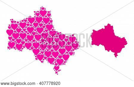 Love Collage And Solid Map Of Moscow Region. Mosaic Map Of Moscow Region Designed With Pink Lovely H