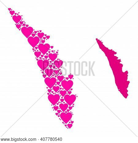 Love Mosaic And Solid Map Of Kerala State. Mosaic Map Of Kerala State Is Created From Pink Lovely He