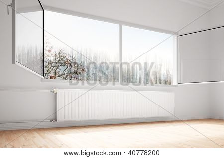 Central Heating Attachted To Wall Open Windows
