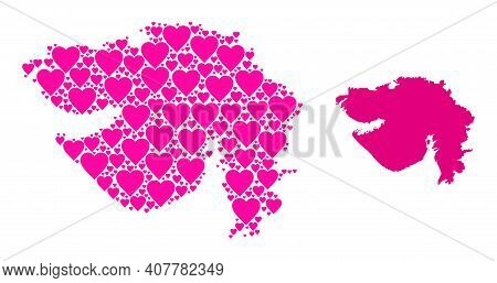 Love Collage And Solid Map Of Gujarat State. Collage Map Of Gujarat State Is Formed From Pink Lovely