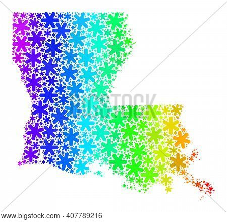 Spectral Gradient Mosaic Of Louisiana State Map Designed For Winter Sales. Louisiana State Map Mosai