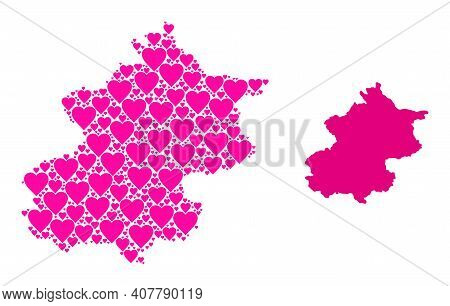 Love Collage And Solid Map Of Beijing Municipality. Collage Map Of Beijing Municipality Is Composed