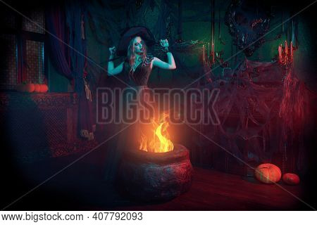 Fairy tales on Halloween. Enchanting young witch conjures over the cauldron in an old castle.