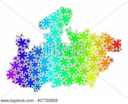 Rainbow Gradient Mosaic Of Madhya Pradesh State Map Designed For Christmas Ads. Madhya Pradesh State