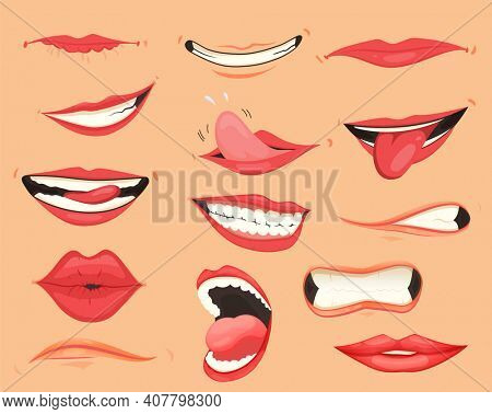 Mouth expressions. Lips with a variety of emotions, facial expressions. Female lips in cartoon style. Collection of gestures lips. Set of mouth cartoon funny and emotion. Red lipstick