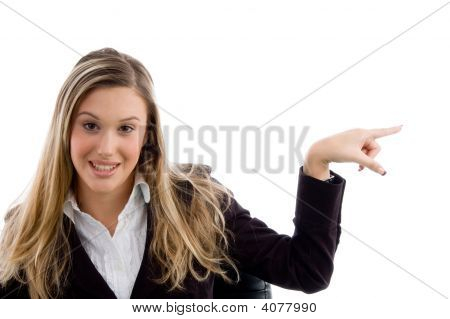 Woman Pointing Sideways