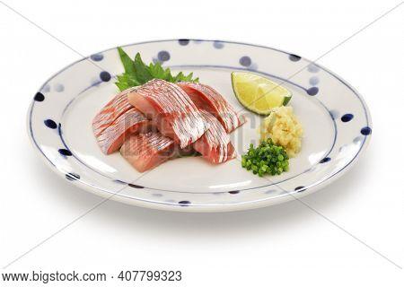 herring sashimi, japanese cuisine isolated on white background