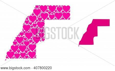 Love Mosaic And Solid Map Of Western Sahara. Mosaic Map Of Western Sahara Is Created With Pink Love