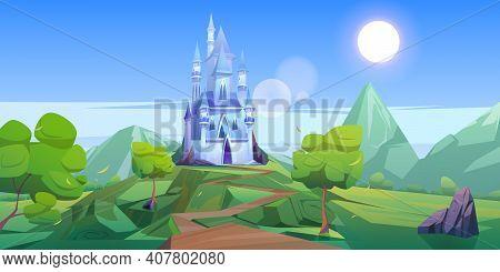 Fairy Tale Castle In Mountains. Vector Cartoon Landscape Of Fairytale Kingdom With Rocks, Trees, Roa