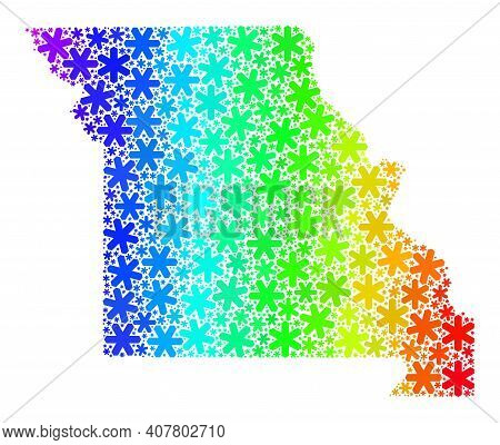 Spectral Gradient Mosaic Of Missouri State Map Designed For New Year Sales. Missouri State Map Mosai