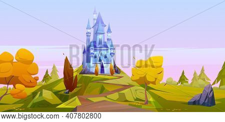 Magic Blue Castle On Green Hill With Yellow Trees. Vector Cartoon Autumn Landscape With Road Leading