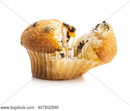 Vanilla muffins. Sweet cupcakes isolated on white background.