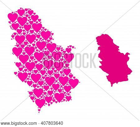 Love Pattern And Solid Map Of Serbia. Mosaic Map Of Serbia Created From Pink Lovely Hearts. Vector F