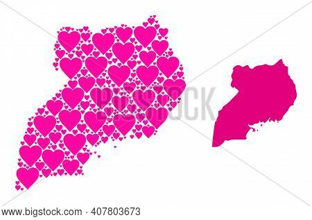 Love Mosaic And Solid Map Of Uganda. Mosaic Map Of Uganda Designed With Pink Lovely Hearts. Vector F