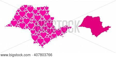 Love Mosaic And Solid Map Of Sao Paulo State. Mosaic Map Of Sao Paulo State Created With Pink Love H