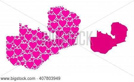 Love Mosaic And Solid Map Of Zambia. Mosaic Map Of Zambia Designed From Pink Valentine Hearts. Vecto