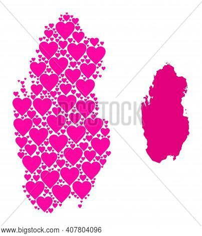 Love Collage And Solid Map Of Qatar. Mosaic Map Of Qatar Composed From Pink Love Hearts. Vector Flat