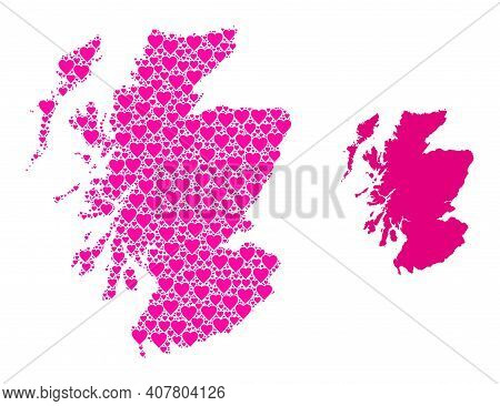 Love Collage And Solid Map Of Scotland. Collage Map Of Scotland Is Created With Pink Hearts. Vector