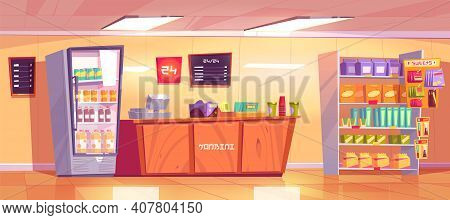Konbini, Convenience Store Interior With Wooden Checkout Counter, Shelves With Food And Refrigerator