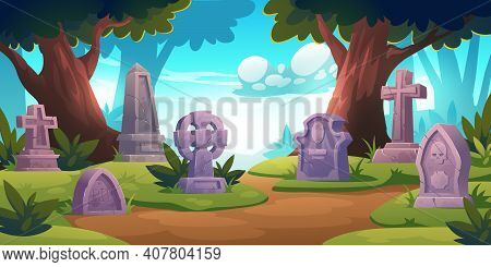 Cemetery, Graveyard With Tombstones In Forest With Trees Around, Cracked Crosses, Monuments With Rip
