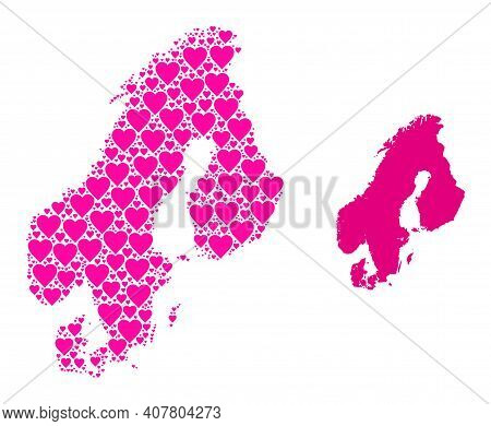 Love Collage And Solid Map Of Scandinavia. Collage Map Of Scandinavia Composed With Pink Lovely Hear