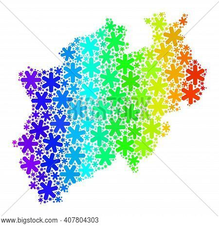 Bright Gradient Mosaic Of North Rhine-westphalia Land Map Combined For Winter Ads. North Rhine-westp