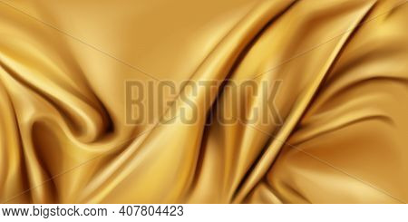Gold Silk Folded Fabric Background, Luxurious Textile Decoration Backdrop For Poster, Banner Or Cove
