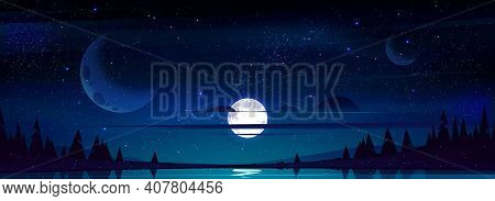 Full Moon In Night Sky With Stars And Clouds Above Trees And Pond Reflecting Starlight Background. D
