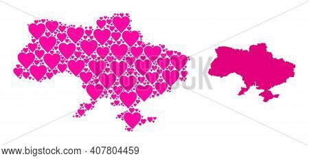 Love Collage And Solid Map Of Ukraine. Mosaic Map Of Ukraine Designed With Pink Love Hearts. Vector
