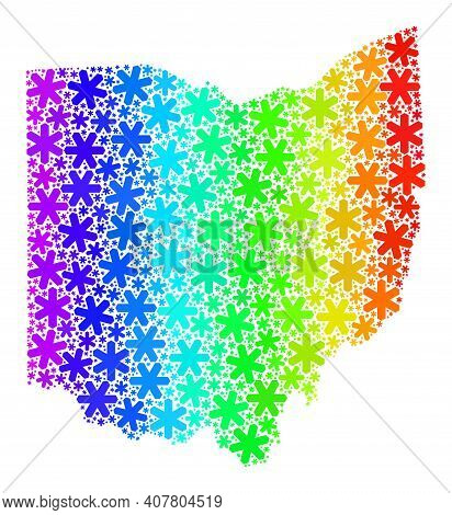 Bright Gradient Mosaic Of Ohio State Map Created For Christmas Holidays. Ohio State Map Mosaic Is Co