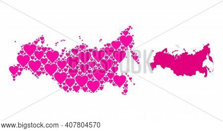 Love Mosaic And Solid Map Of Russia. Mosaic Map Of Russia Is Created With Pink Valentine Hearts. Vec