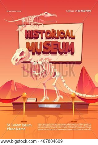 Poster Of Historical Museum With Dinosaur Skeletons. Vector Cartoon Illustration Of Prehistoric Exhi