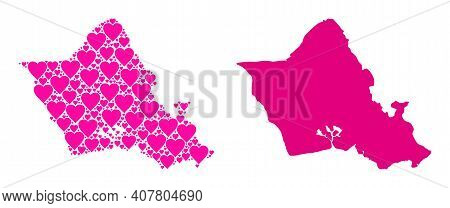 Love Mosaic And Solid Map Of Oahu Island. Collage Map Of Oahu Island Composed With Pink Valentine He