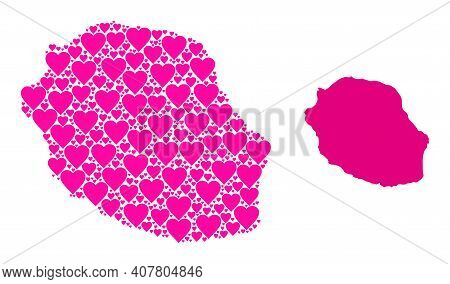 Love Mosaic And Solid Map Of Reunion Island. Mosaic Map Of Reunion Island Is Created From Pink Valen