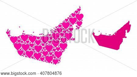 Love Collage And Solid Map Of United Arab Emirates. Collage Map Of United Arab Emirates Designed Wit