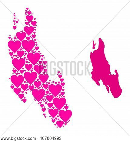 Love Mosaic And Solid Map Of Zanzibar Island. Collage Map Of Zanzibar Island Is Designed With Pink L