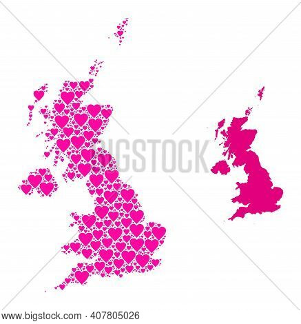 Love Collage And Solid Map Of United Kingdom. Collage Map Of United Kingdom Formed With Pink Lovely