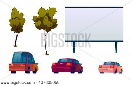 Car Street Cinema Isolated Elements Set, Large Outdoor Screen For Movie, Automobiles And Green Trees